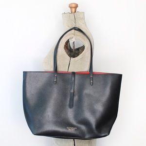 Victoria's Secret Black Red Faux Leather Tote Bag